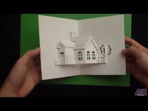 How To Make A House Pop Up Card Origamic Architecture Tutorial Pop Up Cards Paper Pop Pop Up Book