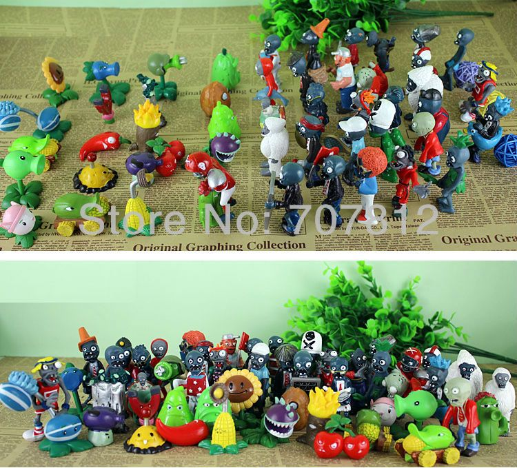 Garden Warfare 60pcs Set New Plants Vs Zombies Action Figures Pvc 3 Crazy Party Best Gift