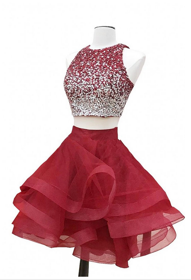 Sparkly Two Piece Red Homecoming Dresses Sequins Beaded Tulle Puffy Skirt  Custom Made Short Graduation Dresses Zipper  shortpromdresses 17fb1cde1