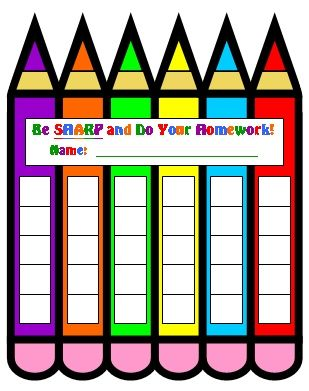 FREE DOWNLOAD: Pencil Shaped Homework Sticker Chart   Free Printable Reward Charts For Teachers