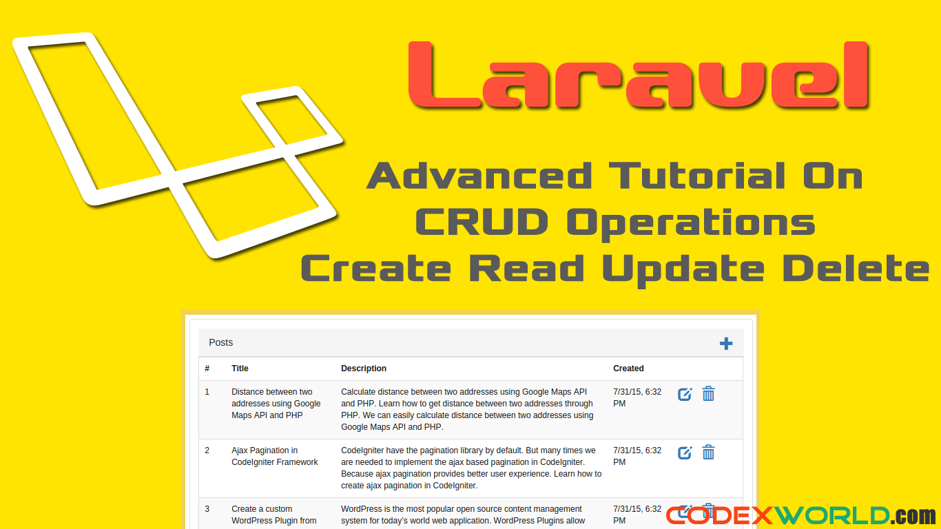 Laravel Tutorial - CRUD (Create Read Update Delete) Operations in