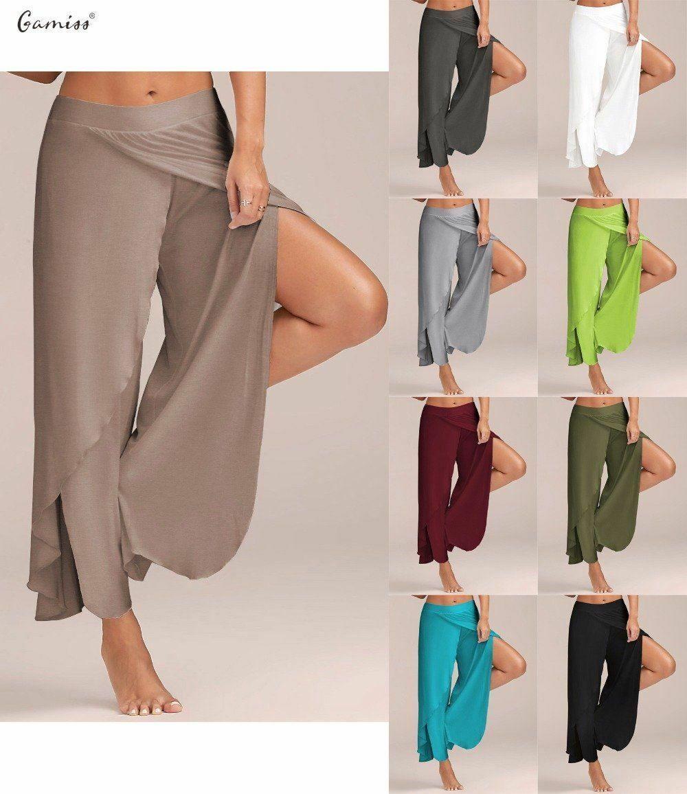 Mujer Pantalones Palazzo Alto Abierto Media Cintura De Pierna Ancha 22 81 Pantalones Mujer Pantalones De Moda Ropa