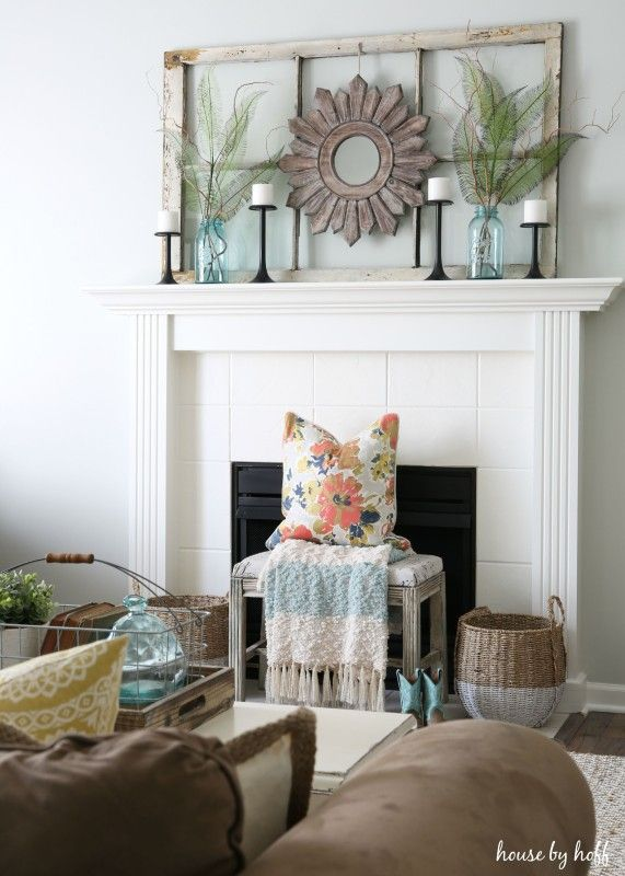 Ideas for Decorating with Old Windows: Old Window Frame Mantel   DIY ...
