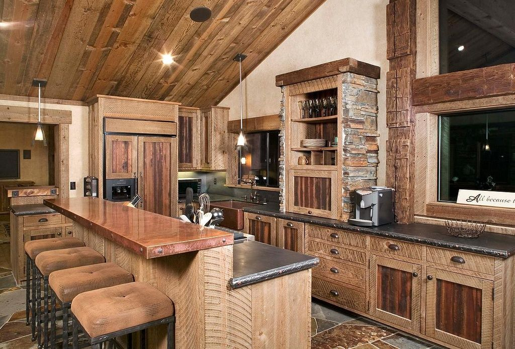 Rustic Kitchen With Farmhouse Sink, LBL Lighting Tear-Si