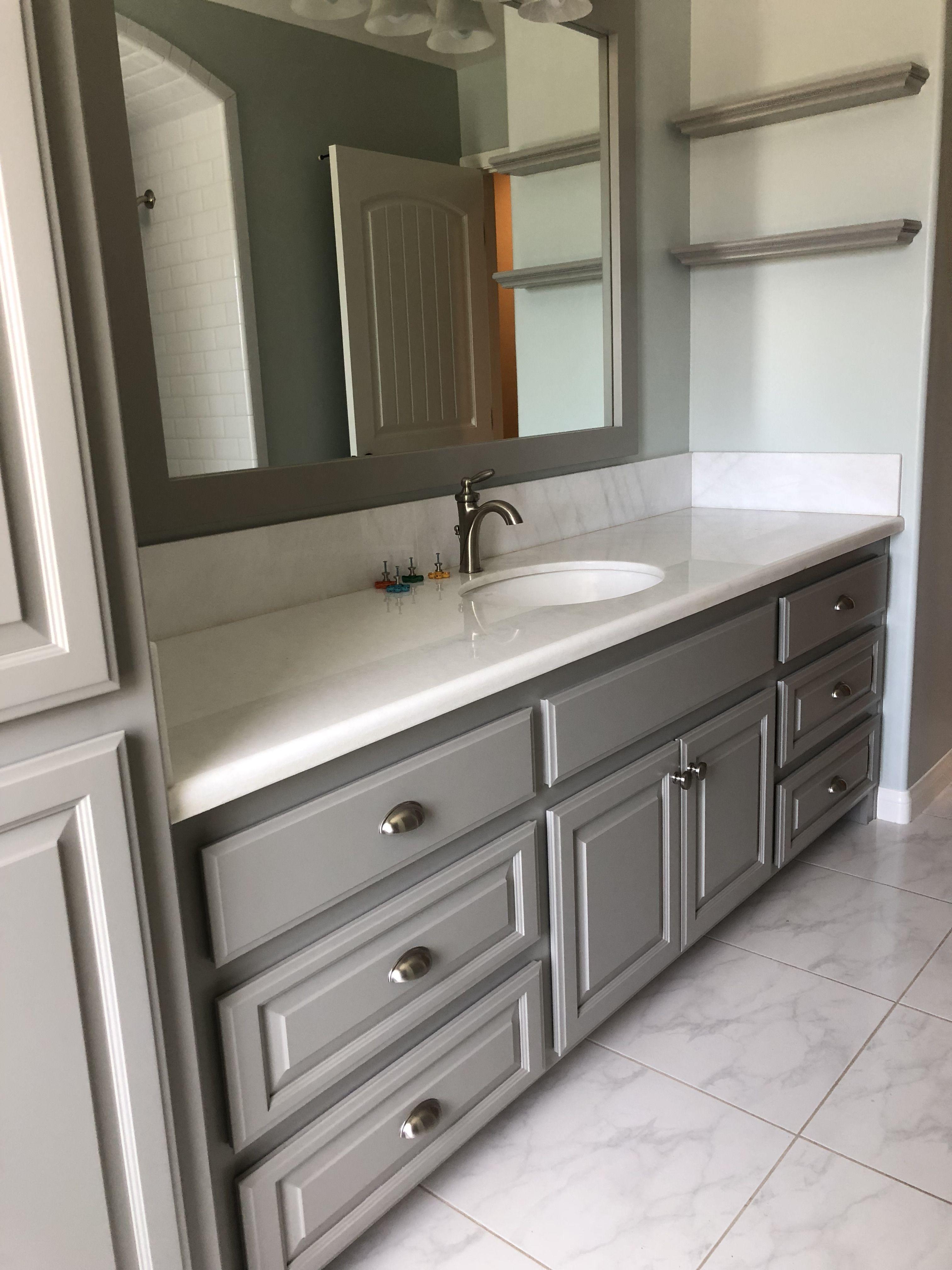 Sherwin Williams Dorian Grey Cabinets Sw Sea Salt Walls Grey
