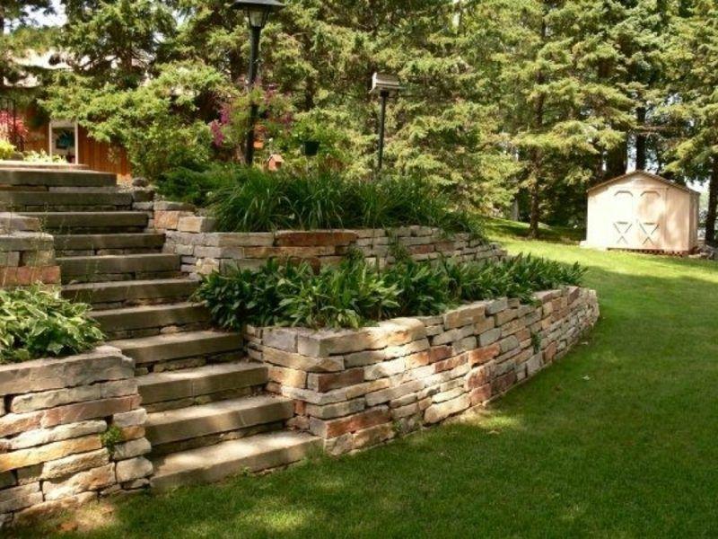 Steinmauer+Garten+Blumenbeete+Treppe+