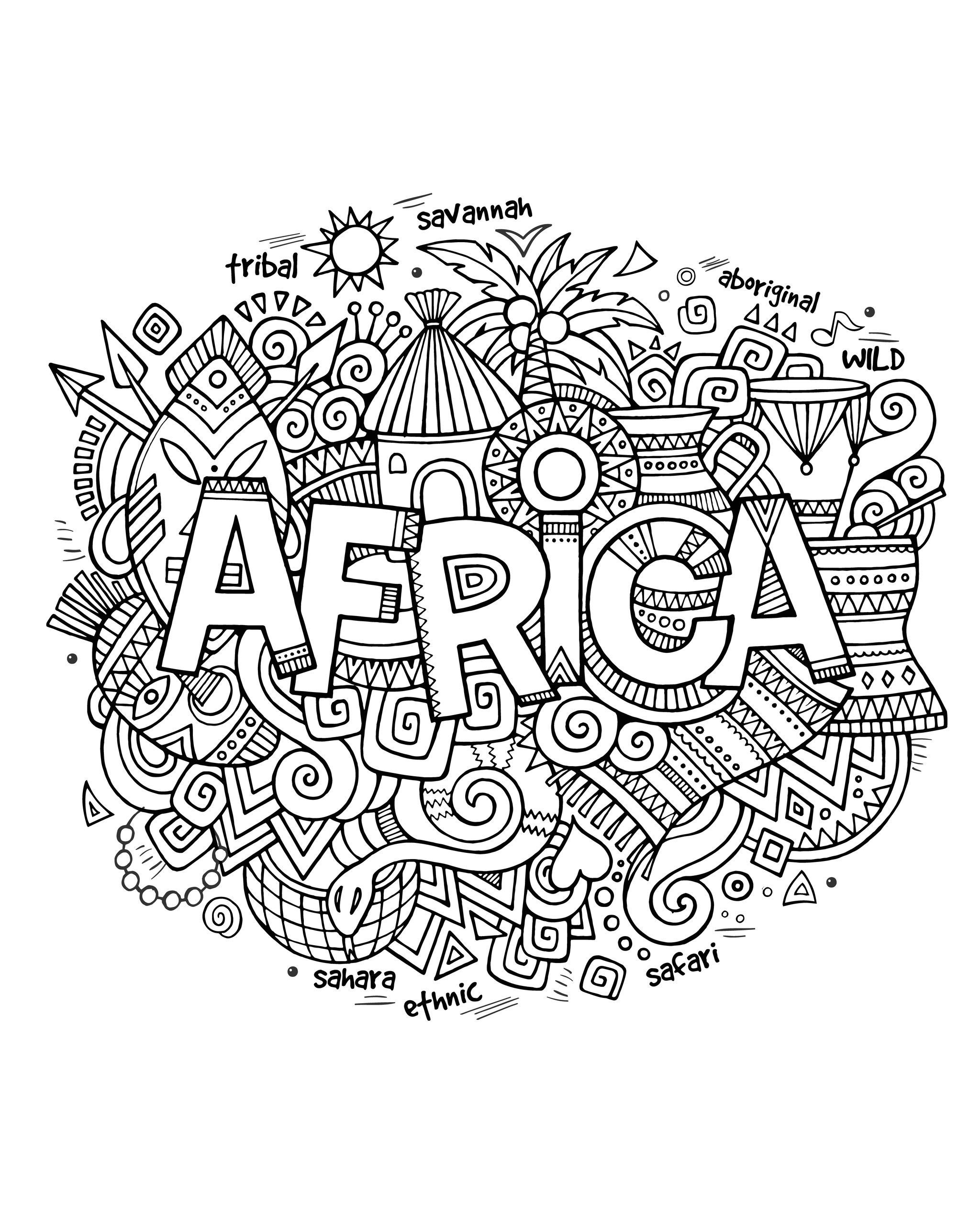 Free Coloring Page Coloring Adult Africa Abstract Symbols Drawing With The Word Africa And A