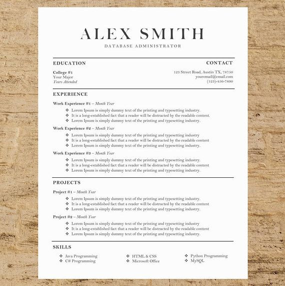 Business Resume/CV And Cover Letter Template