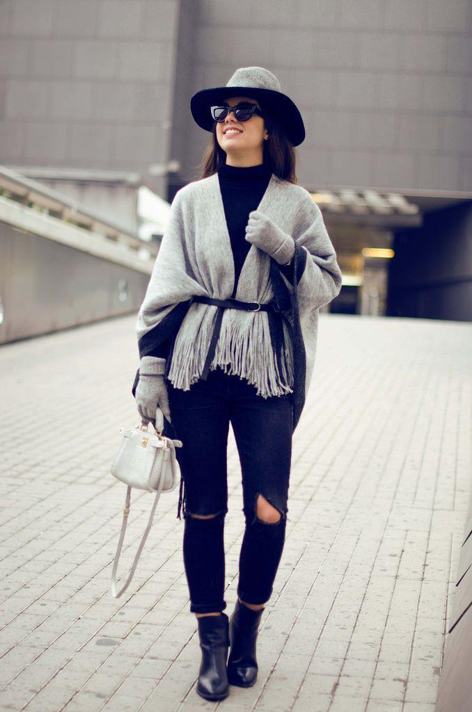 Cómo combinar un poncho gris en tu look de invierno  eac541c939d
