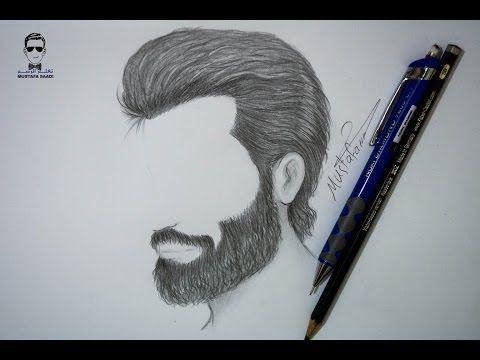 طريقة رسم الشعر واللحية للرجل بالرصاص للمبتدئين Face Art Drawing How To Draw Hair Drawings