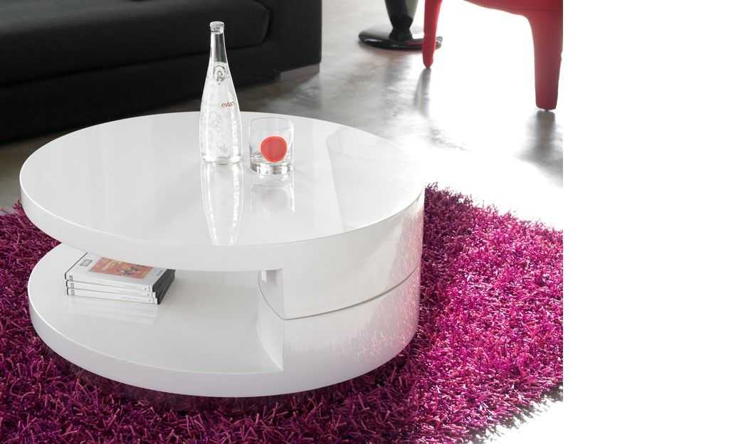 Table Basse Ronde Laquee.Table Basse Pivotante Ronde Blanc Laque Design Sili Table