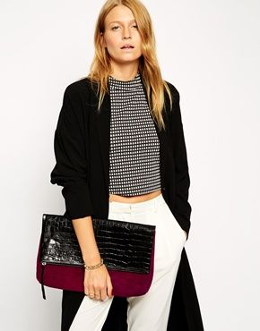 Enlarge ASOS Color Block Suede Clutch Bag