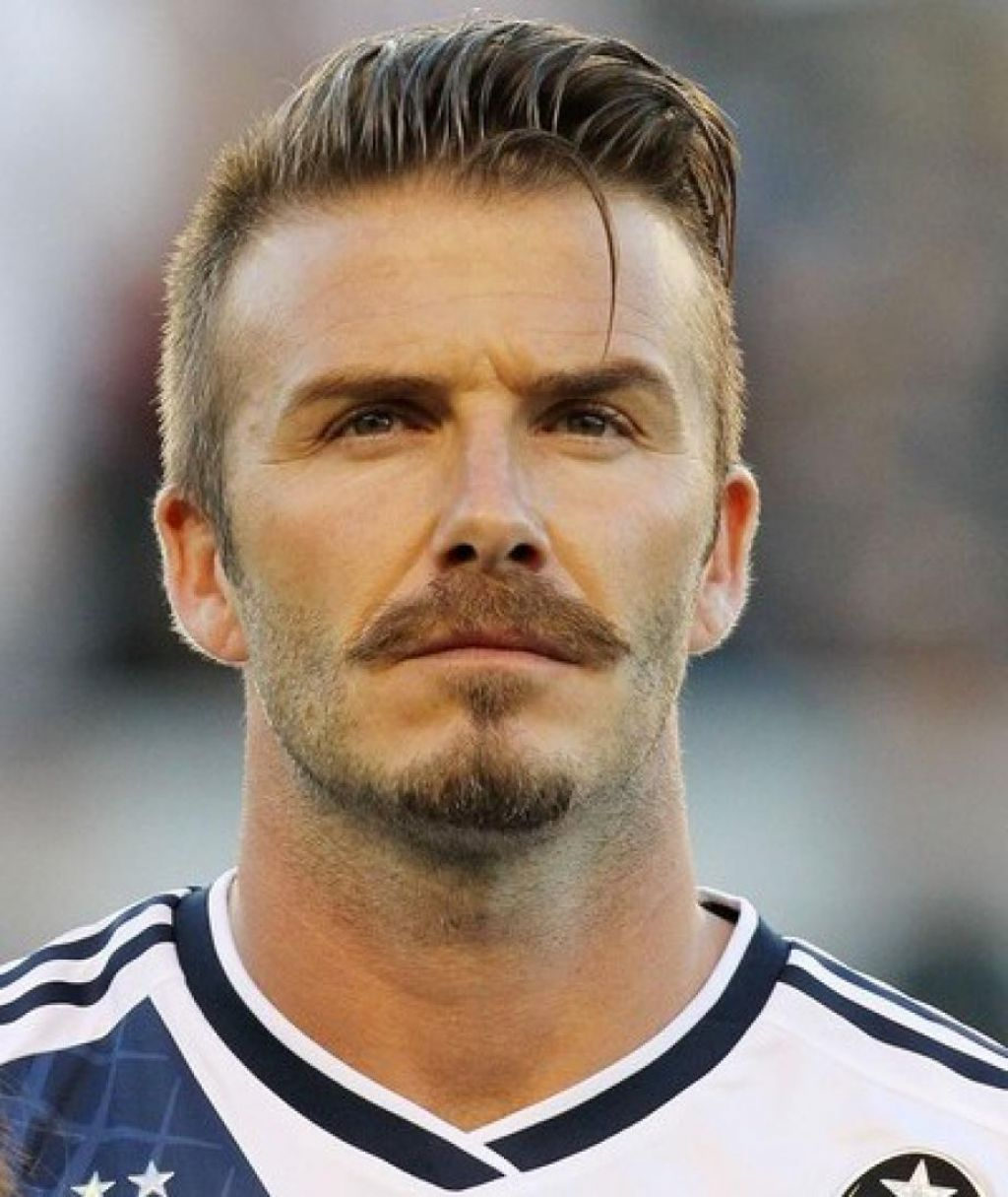 David Beckham Pompadour Hairstyle With Mustache Men Hairstyle