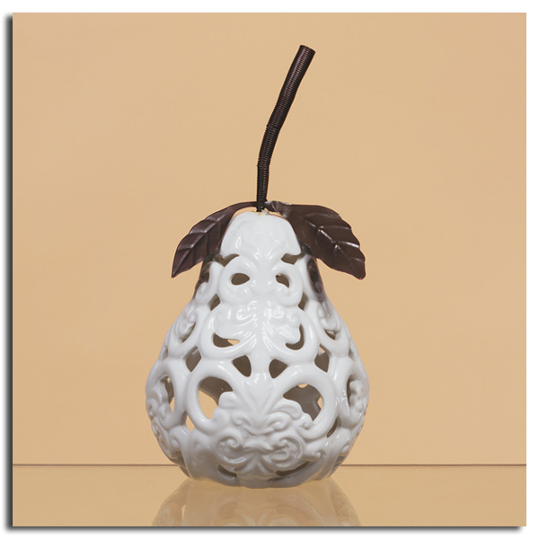 White Porcelain Pear With Decorative Metal Accents