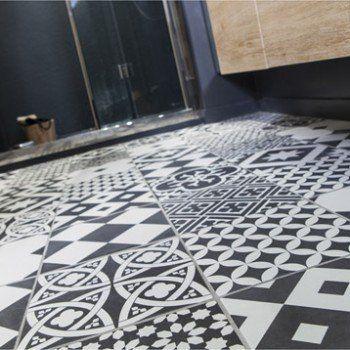 carrelage sol et mur noir blanc effet ciment gatsby. Black Bedroom Furniture Sets. Home Design Ideas