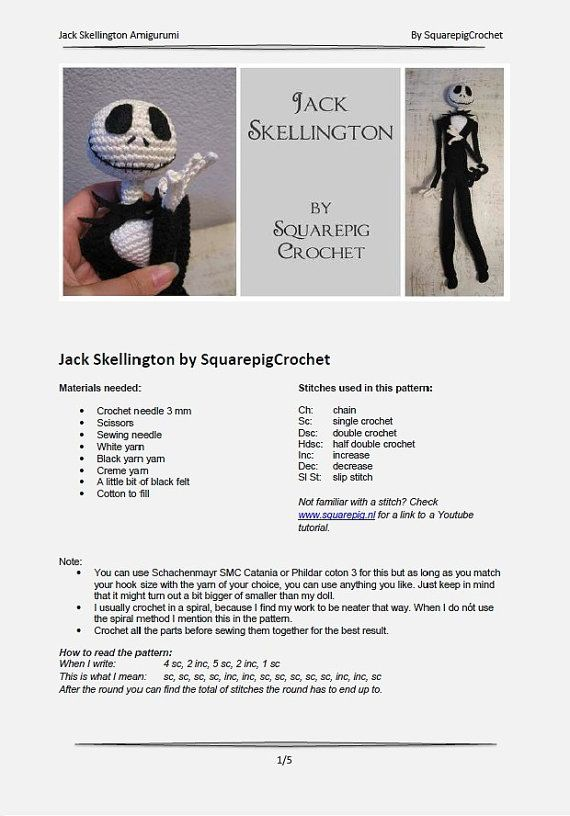 Jack Skellington ganchillo patrón 40 cm de por SquarepigCrochet ...