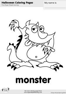 Free Monster Coloring Page From Super Simple Learning Tons Of Halloween Worksheets Flashcards Monster Coloring Pages Halloween Coloring Pages Coloring Pages