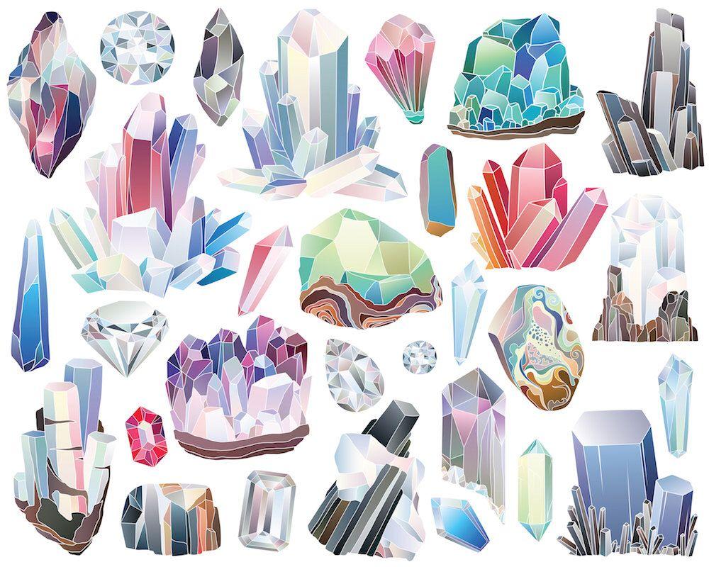Crystals, Diamonds, and Minerals Clipart - 29 300 DPI ...