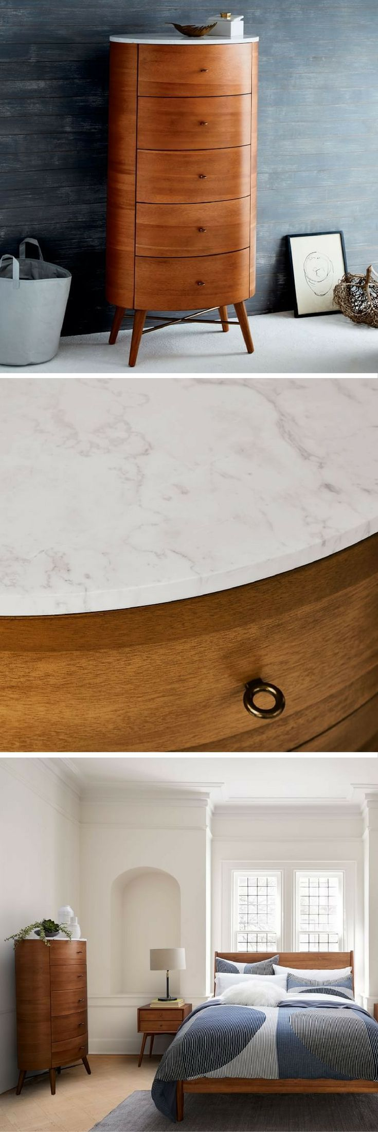 This mid-century dresser\'s marble top looks great styled with a ...