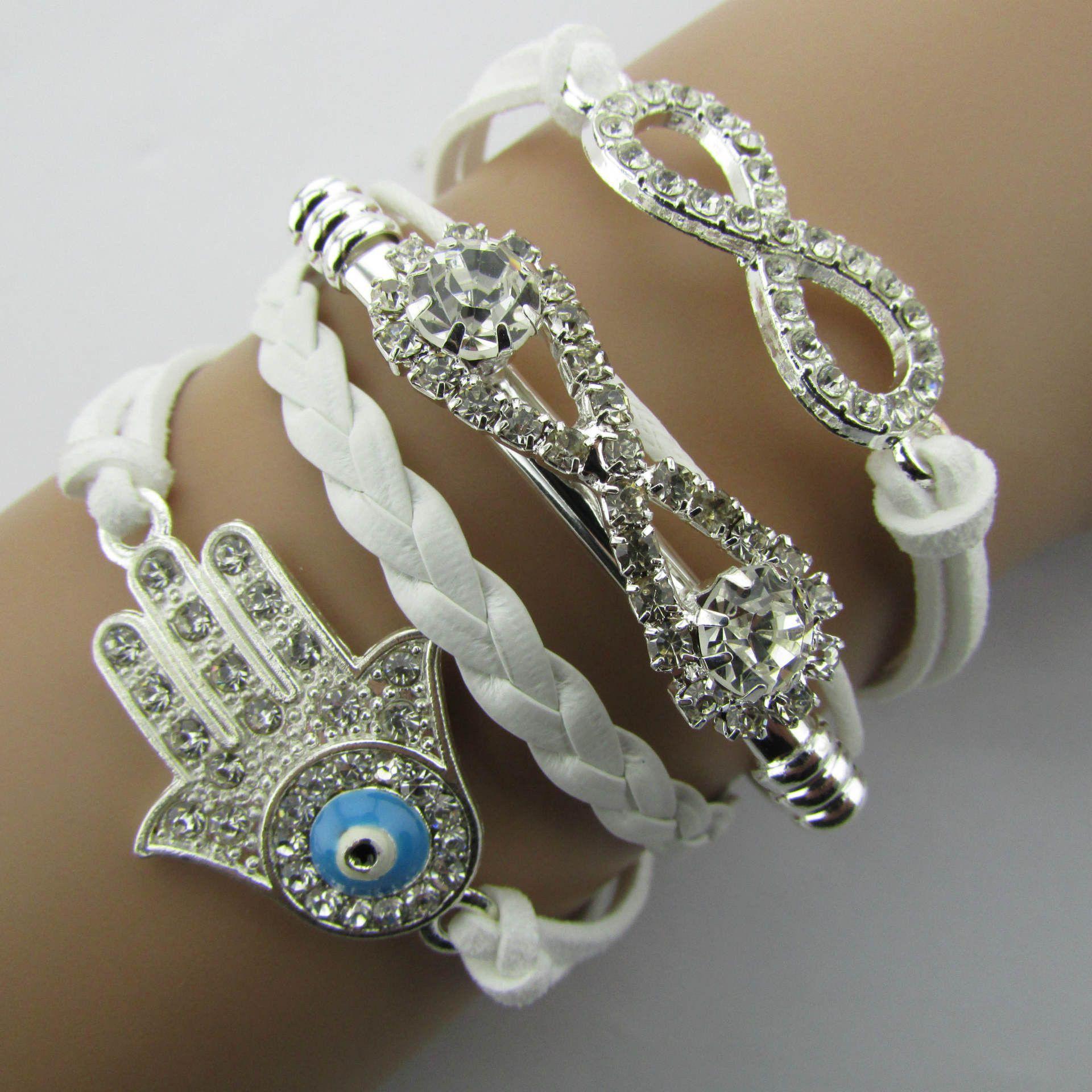 White crystal hand leather cord bracelet bracelets u anklets