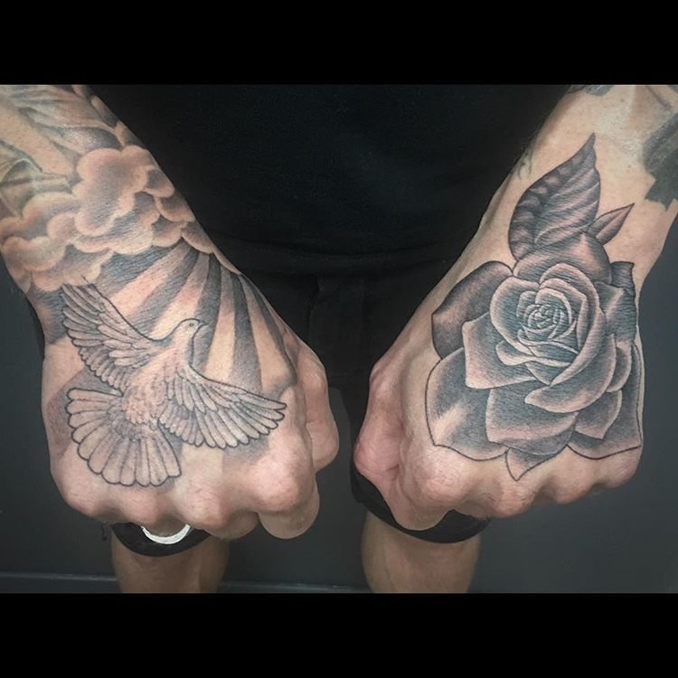 Tattoo handtattoo hands dove rose tattoo for Dove and hands tattoo