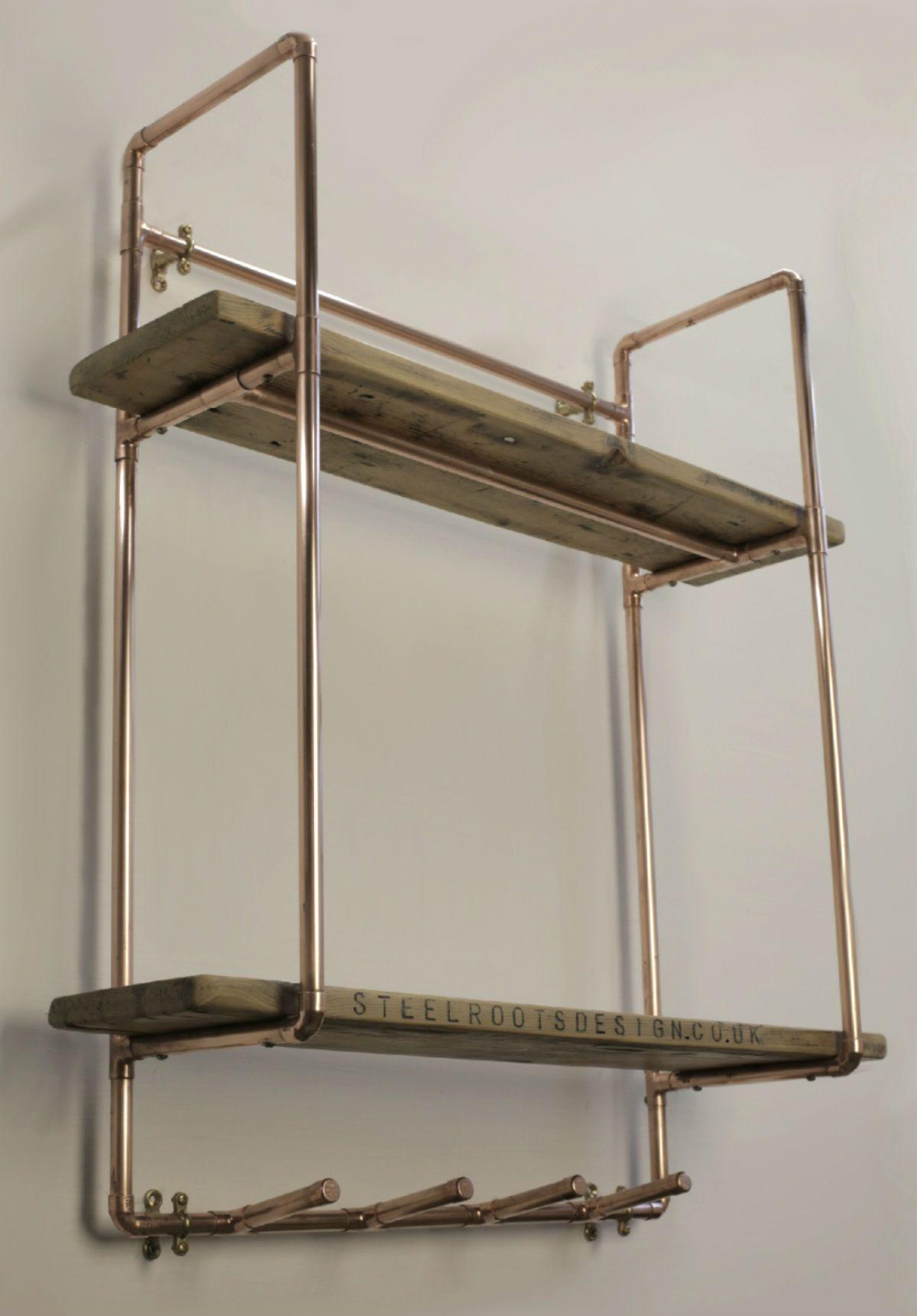 Copper Pipe Furniture home / shop / copper furniture / tall, 2 shelf 15mm copper pipe