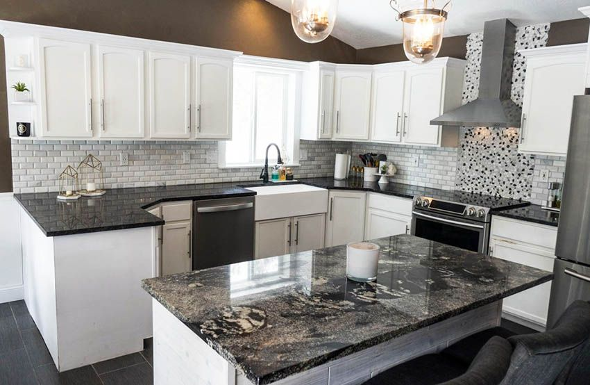 Kitchen Countertop Ideas with White Cabinets | Dark ... on Backsplash Ideas For Black Granite Countertops And White Cabinets  id=29271