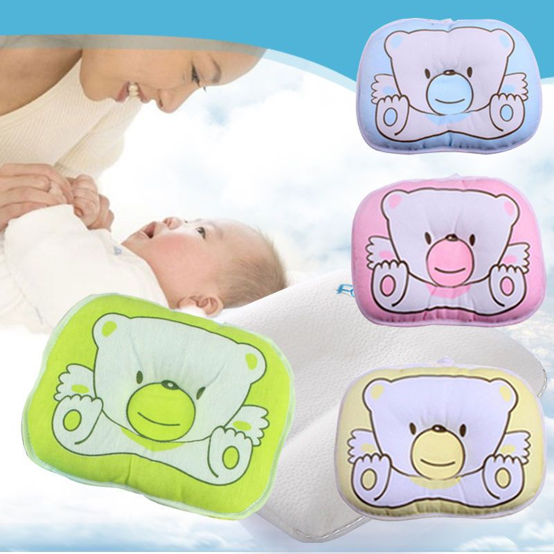 Newborn Infant Bedding Print Bear Oval Shape Cotton Blend Baby Bear Pillow