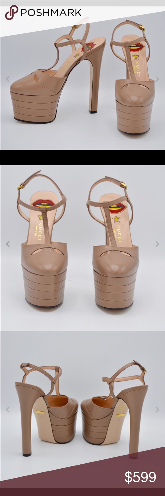 8b7458db4df6 Gucci Womens Leather Platform pump Porcelain Rose RETAIL PRICE  965.00    EMAIL ME FOR OTHER