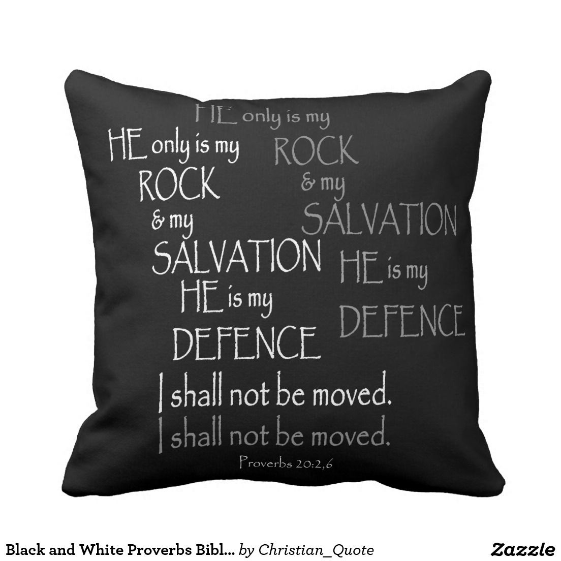 Black and White Proverbs Bible Verse Typography Throw Pillow ...