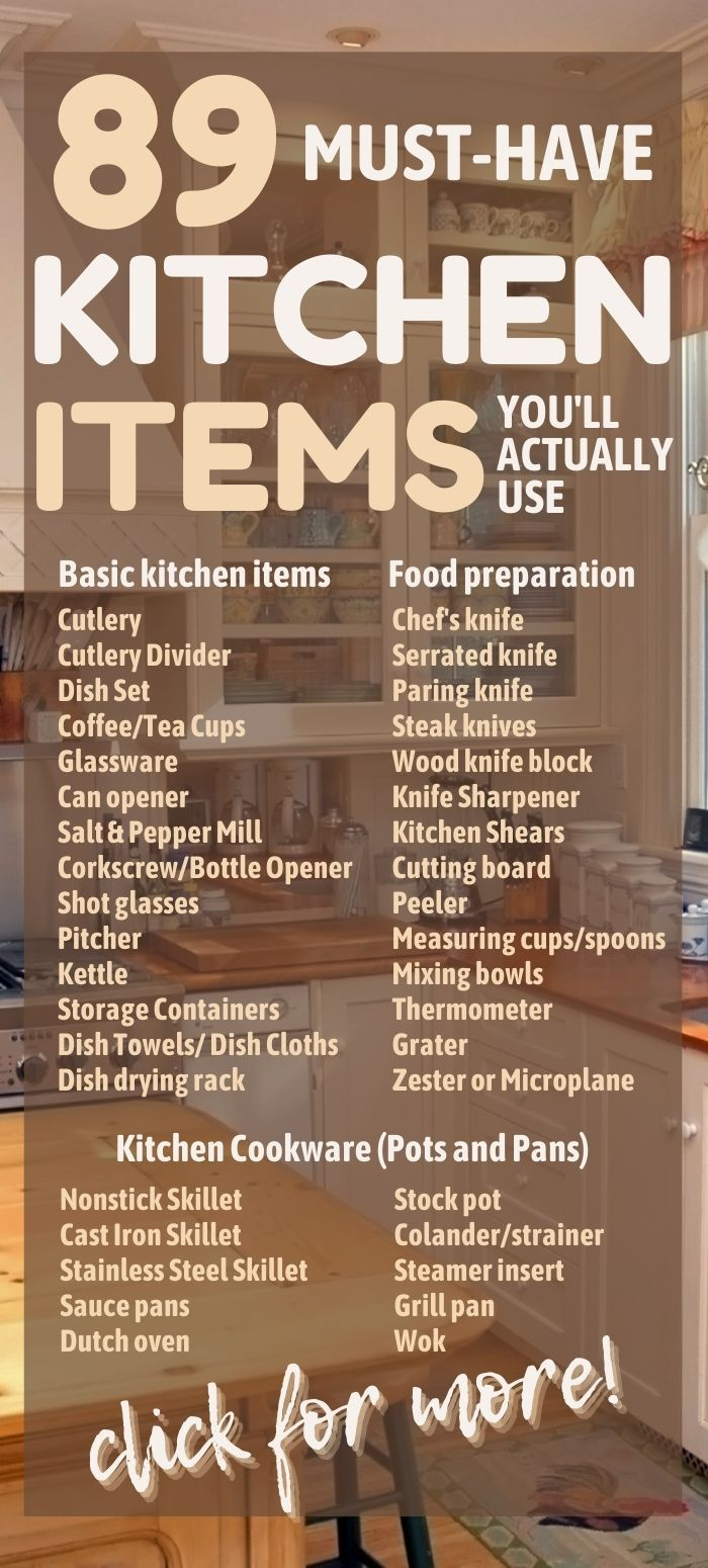 The complete list of kitchen items for a well-equipped kitchen