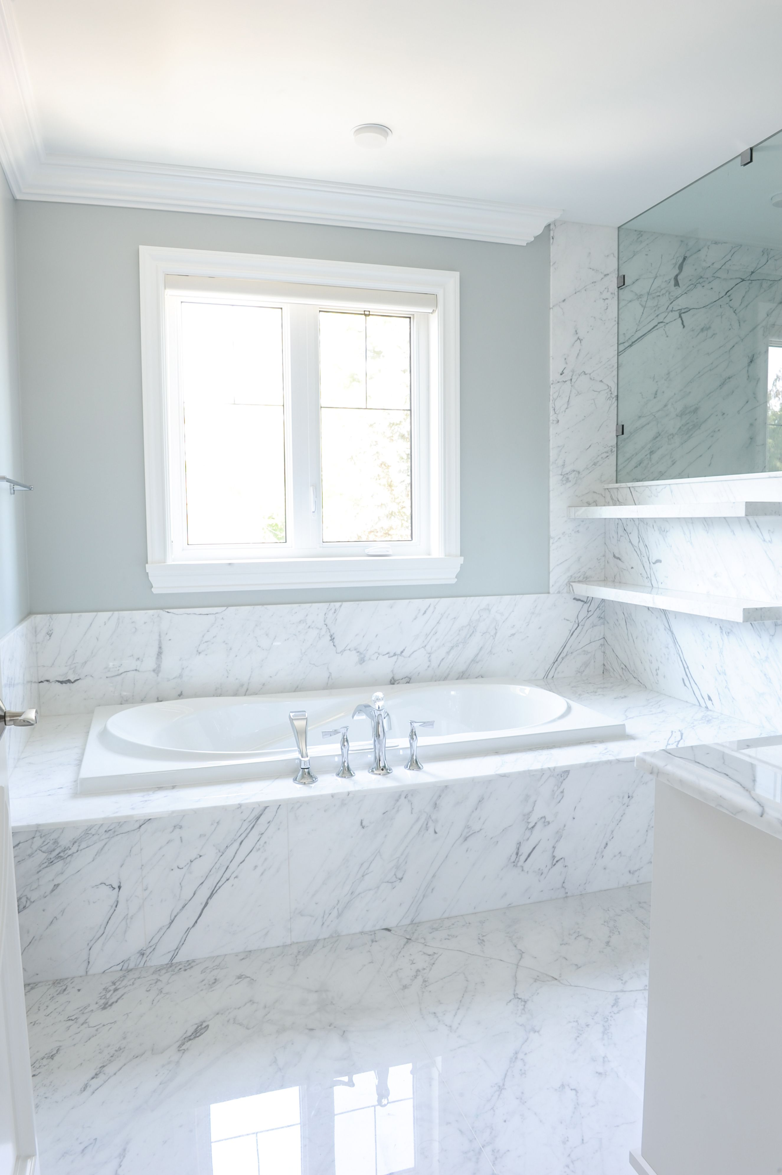 Master Ensuite Designed By Enviable Designs   Elegant Veins From The Marble  Slabs Surrounding A Drop