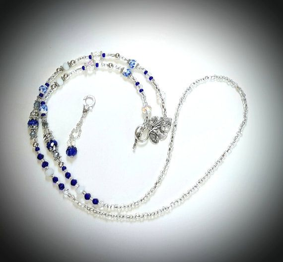 Necklace/Lanyard In Sapphire Blue & by AGrandIllusion on Etsy