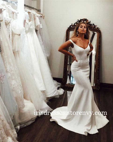 V-neck Beach Wedding Dress 2019 Mermaid Cheap Boho Bridal Gowns Sweep Train Bohemia Vestido de noiva