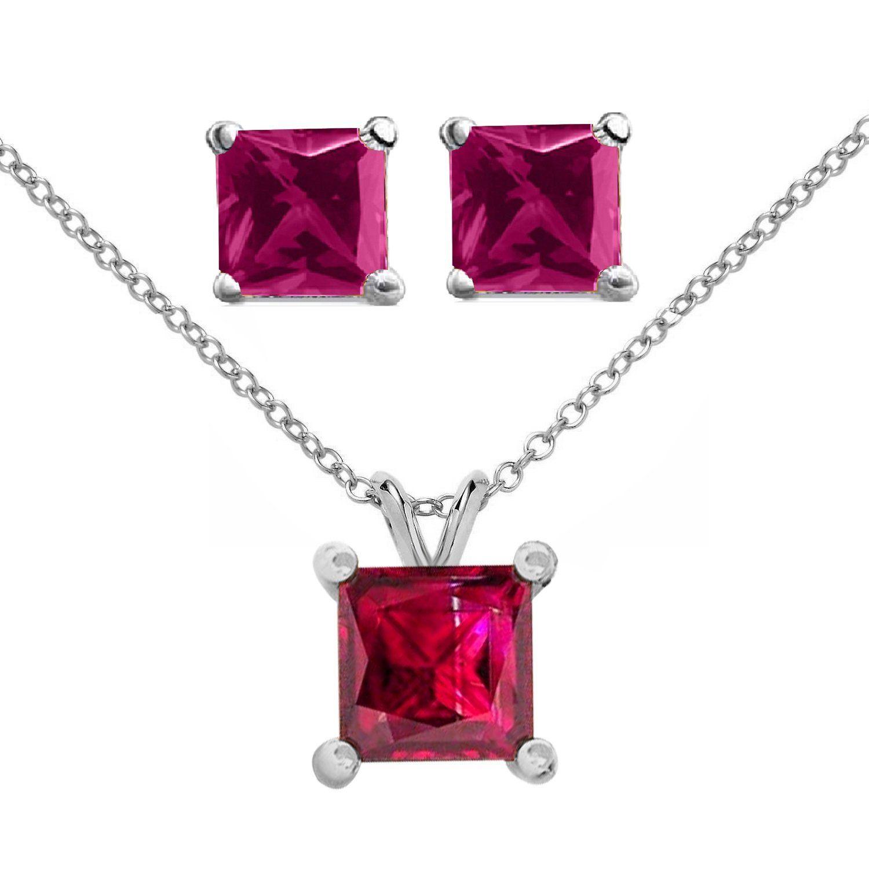 Pretty jewellery k white gold fn silver ct princess cut ruby