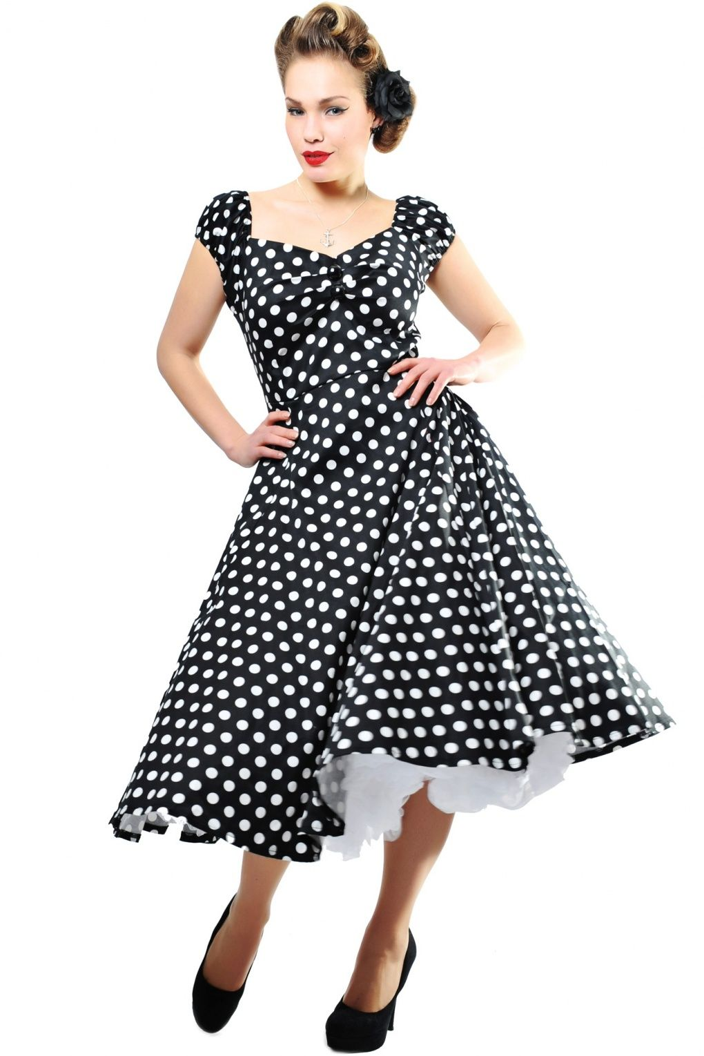 0403a080157 Collectif Clothing - 50s Dolores Doll dress Black White polka swing dress