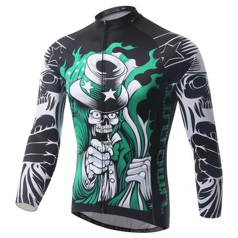 Men's Black Skeleton Long Sleeve Cycling Jersey #Cycling #CyclingGear #CyclingJersey