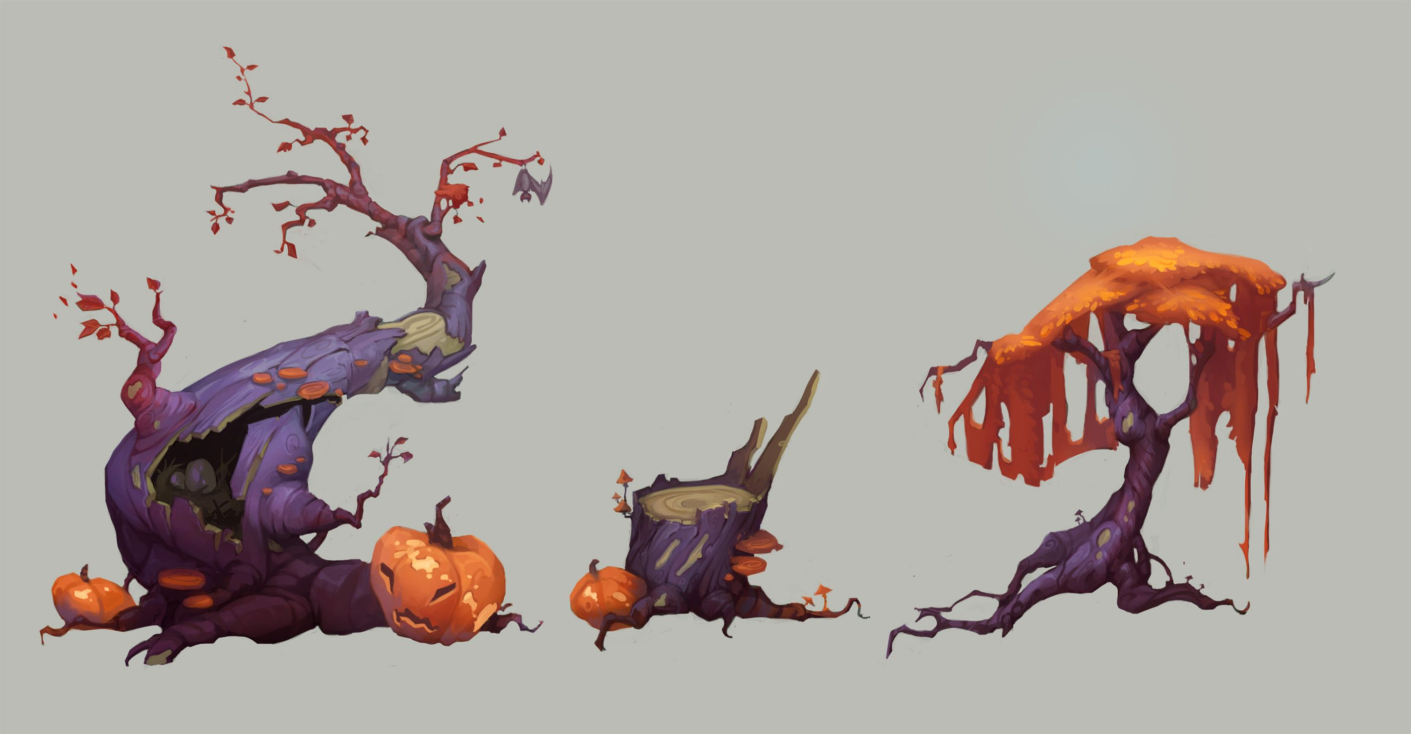Halloween trees on Behance Props concept, Environmental
