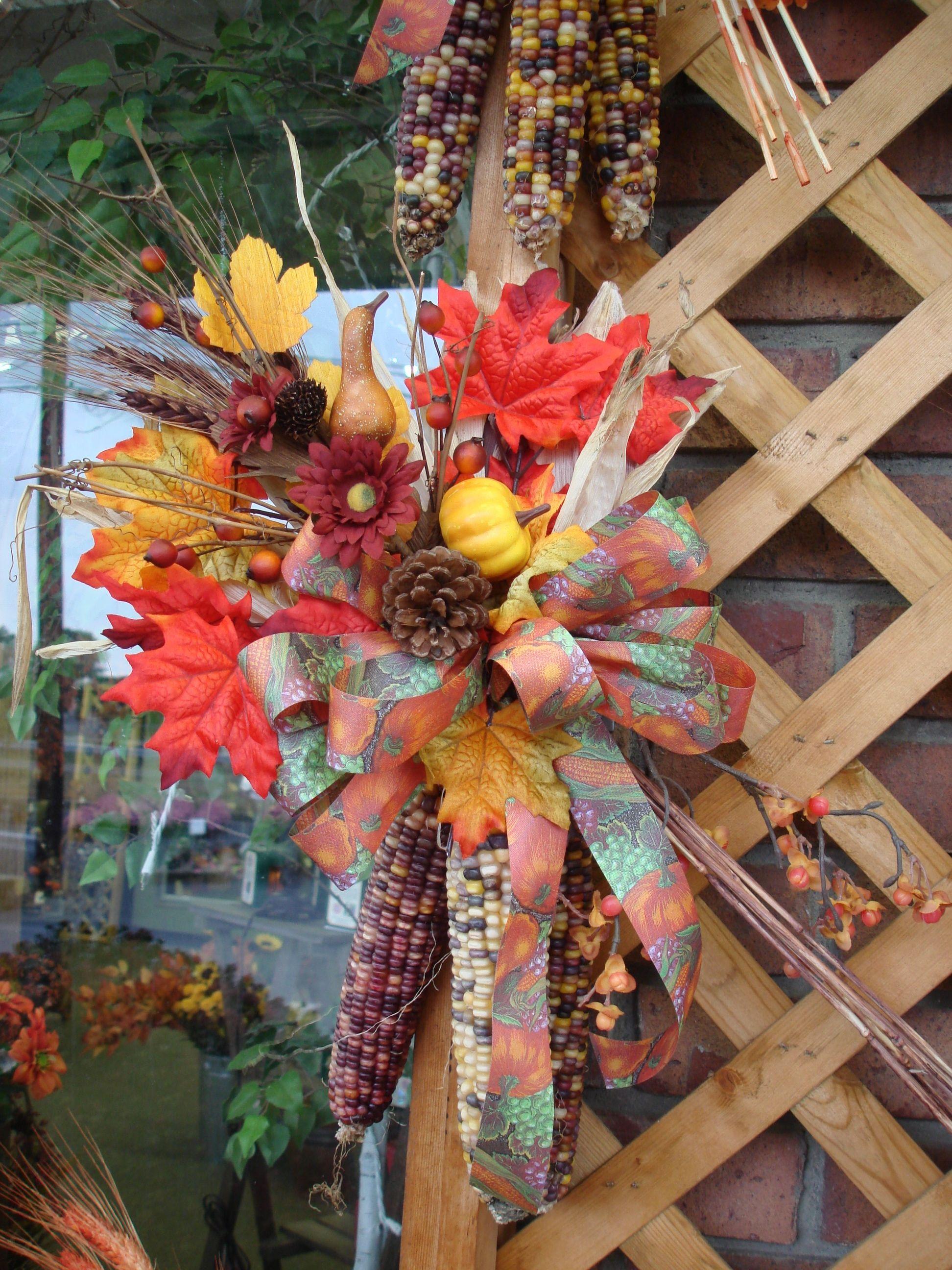 Jackson Florist Indian corn door swag #autumndecor #falldoorswag #indiancorn
