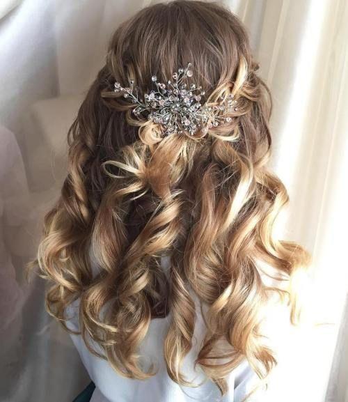 Half Updo Wedding Hairstyles Long Hair: Simple Curly Half Updo For Wedding