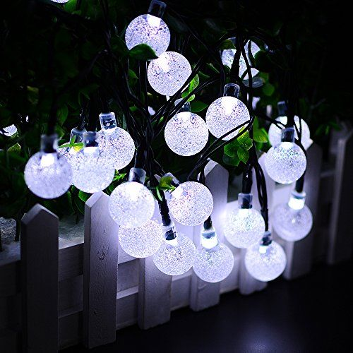 Solar outdoor string lights aooking solar globe string lights solar outdoor string lights aooking solar globe string lights outdoor 197 ft 30 led white crystal aloadofball Image collections