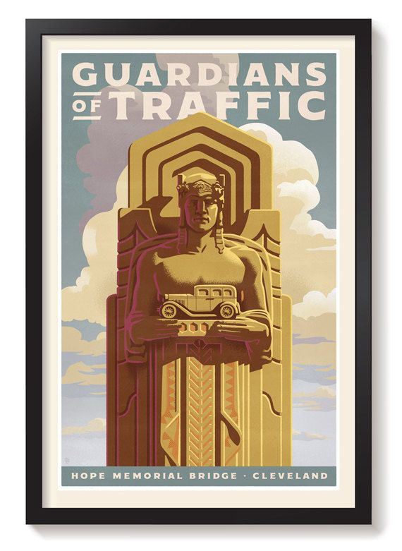 Cleveland Ohio Guardians Of Traffic Giclee Print Unframed And Etsy Cleveland Art Cleveland Prints Art Deco Poster