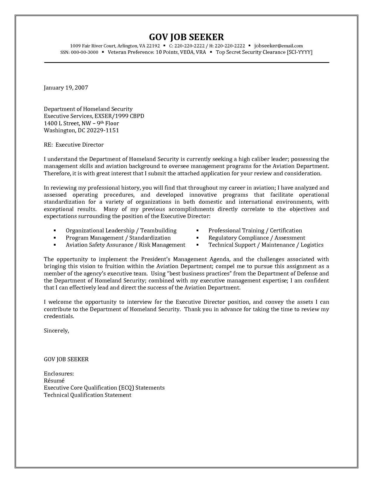 Government Resume Cover Letter Examples httpjobresumesamplecom