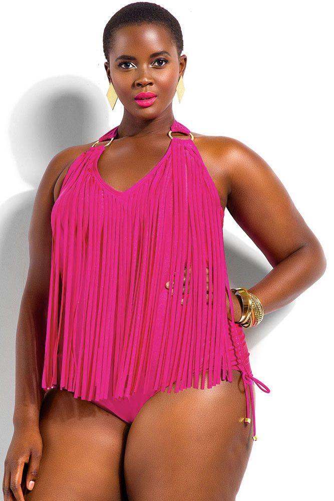 bf2efadaee4 Fringe Embellished Plus Size Halter Monokini | Francescas styles ...