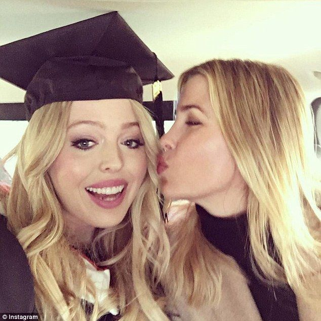 Sisters: Ivanka Trump posted a picture on Instagram of her kissing Tiffany  on the cheek