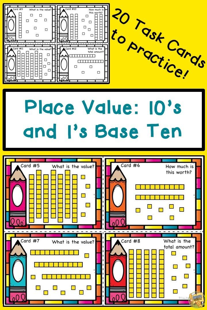 Place Value - 10s and 1s Base Ten Task Cards - Grades 1-2 | Pinterest