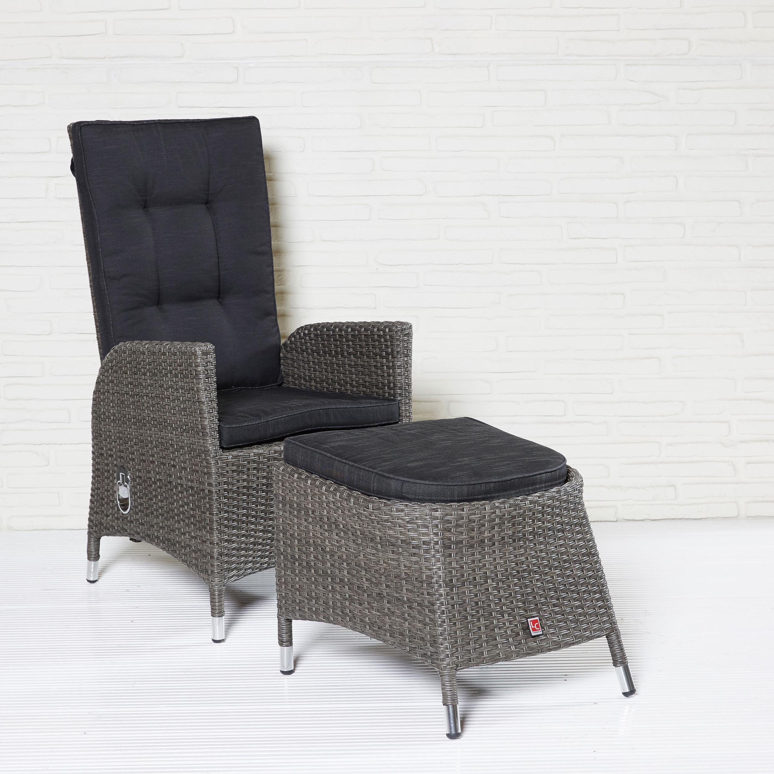 polyrattan liegesessel und hocker mit polsterauflagen barcelona dining gartenm belserie. Black Bedroom Furniture Sets. Home Design Ideas