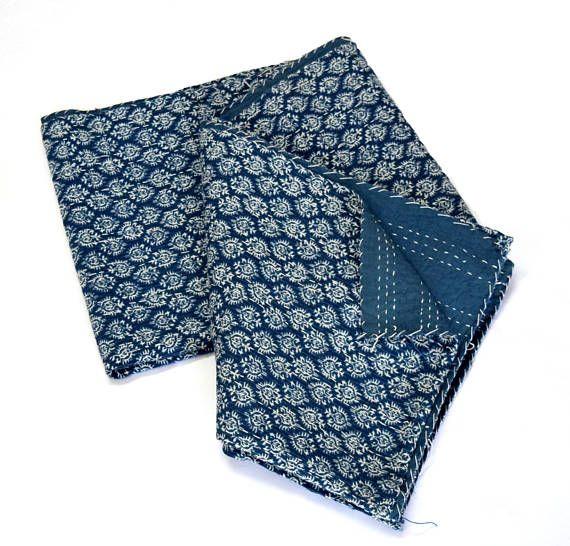 Block Print Bedcover Twin size Indigo Print Bedcover Indian