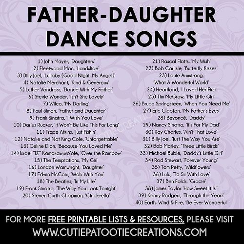 Father Daughter Dance Songs for Mitzvahs and Weddings - FREE Printable List