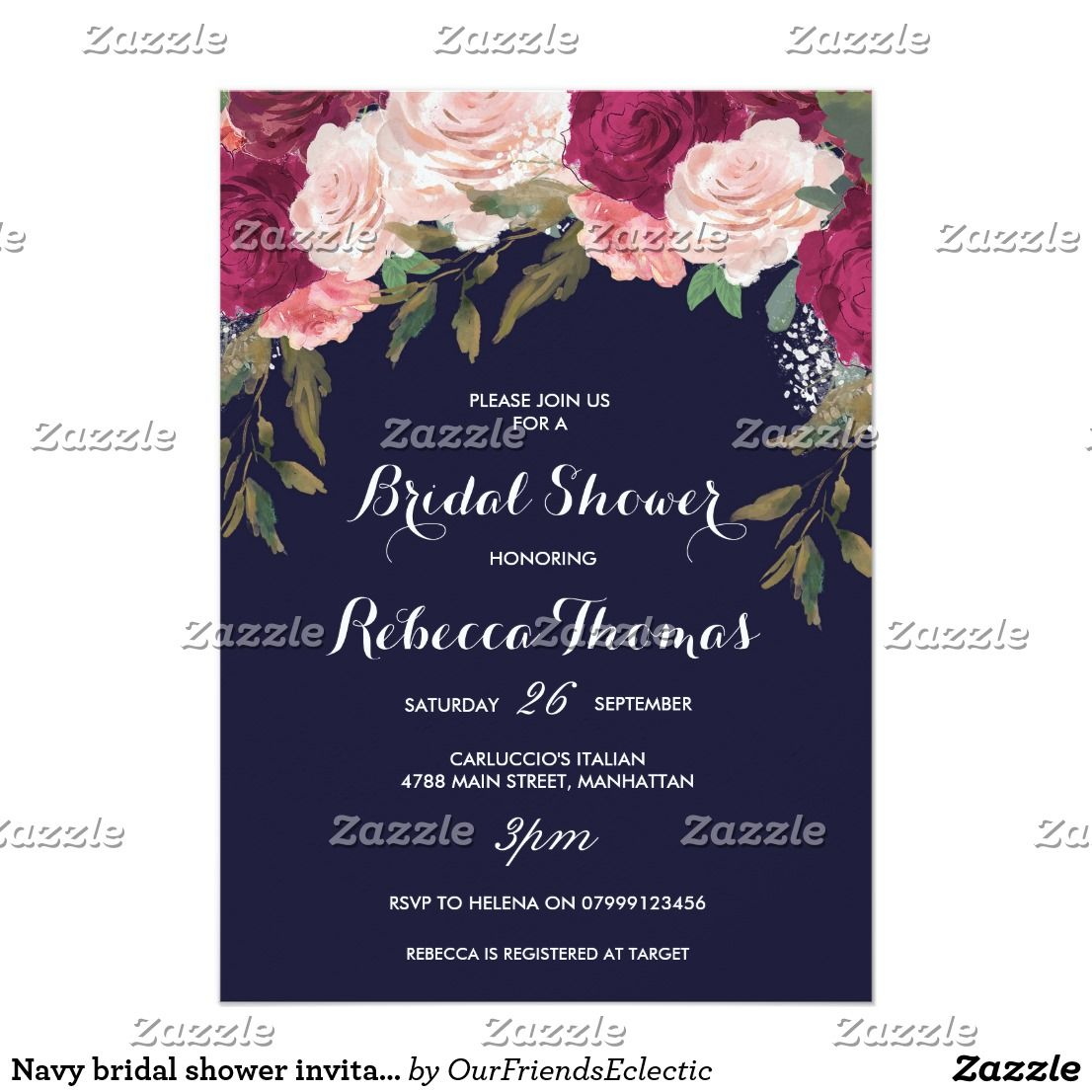 Navy Bridal Shower Invitation Burgundy Pink Floral Navy Bridal